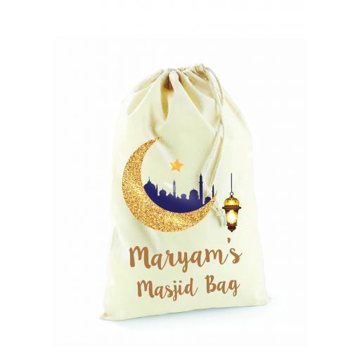 Personalised Eid Mubarak Cotton Drawstring Gift Bag