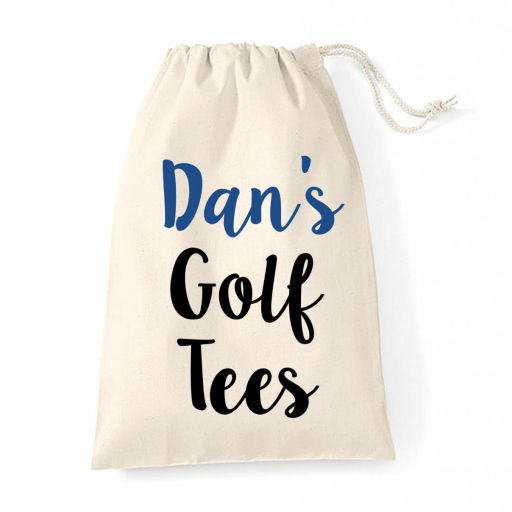 Personalised Golf Balls Tees Storage Bag Natural Cotton Drawstring
