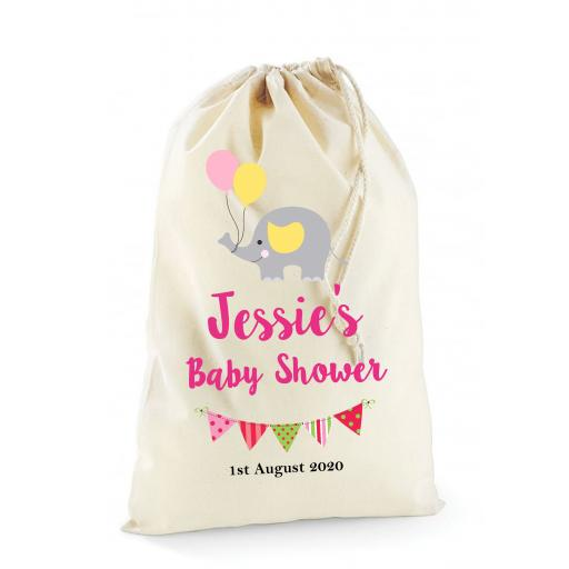 Personalised Cotton Drawstring Baby Shower Bag